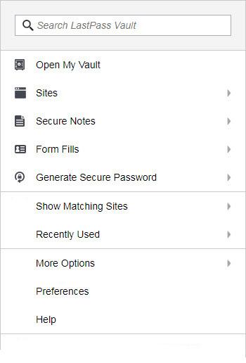 menu for LastPass password manager