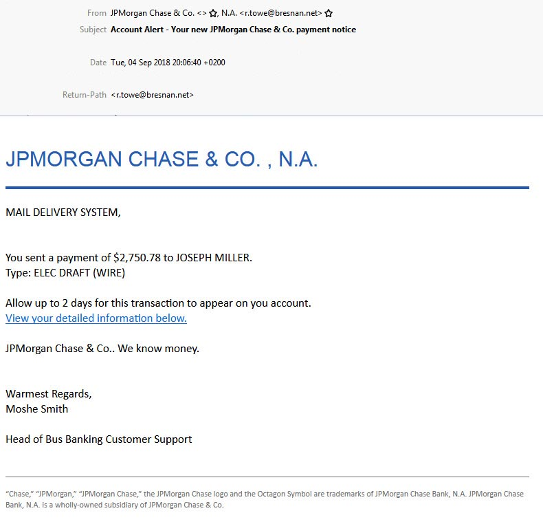 chase phishing email